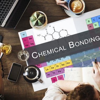 table with poster with Chemical Bonding