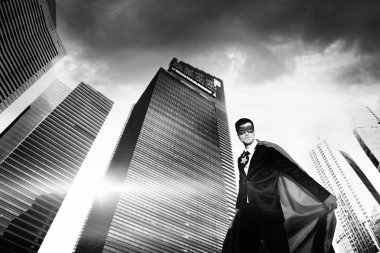 Superhero Businessman in modern city