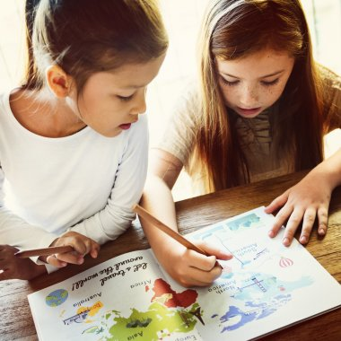 Girls Drawing in coloring-book