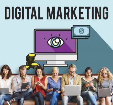 people sit with devices and Digital Marketing
