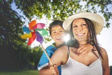happy family outdoors