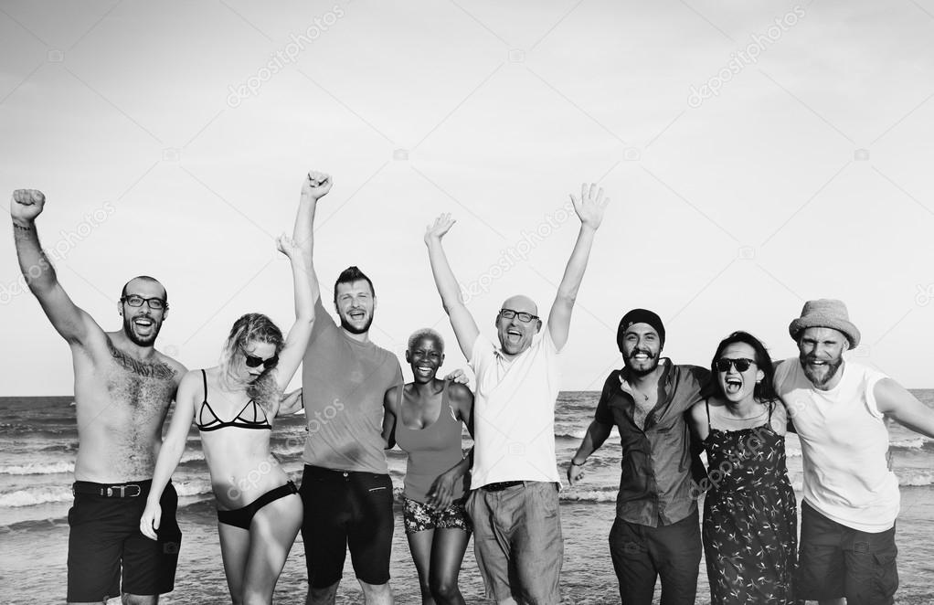 Friends on summer beach