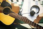 Concetto di chitarra musica nota carta