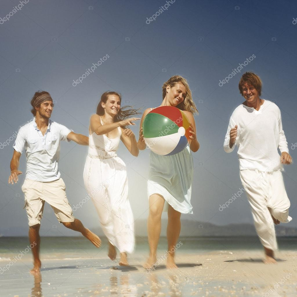 People Relaxing having fun on beach