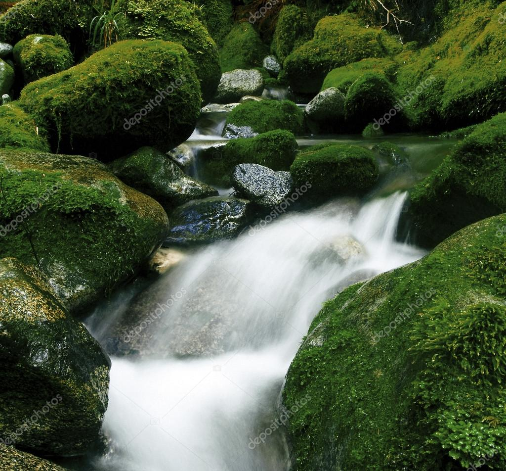 Cascading Waterfall with rocks