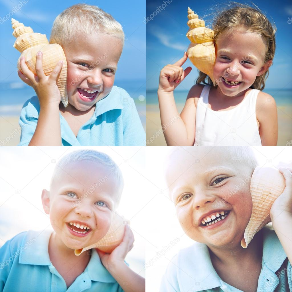 Collage of children listening shell