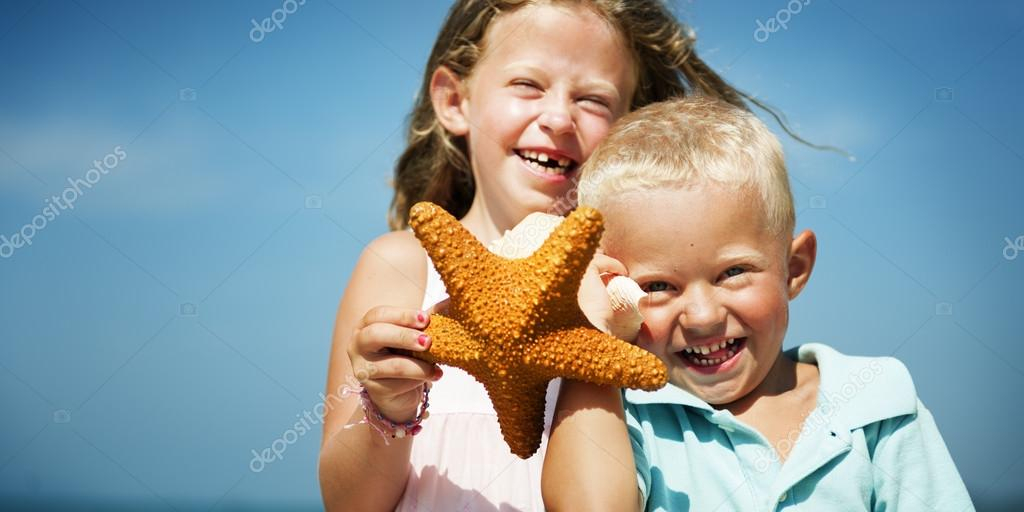 Happy children at beach