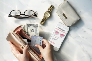 Female Hands and wallet with cards