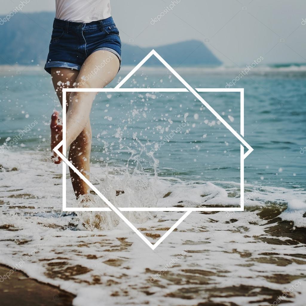 woman walking in ocean