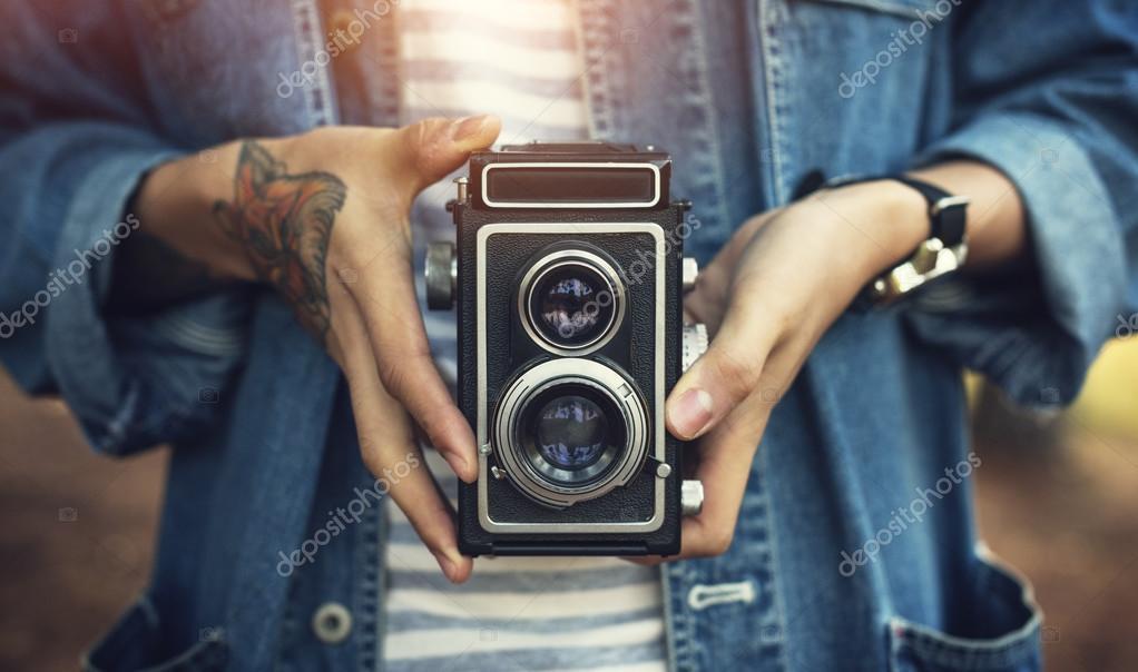 Jahrgang zwei-Linsen-Kamera — Stockfoto © Rawpixel #119118754