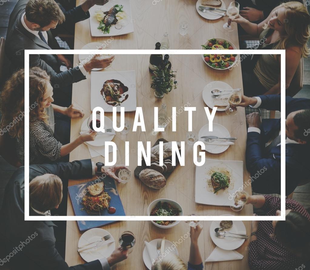 diverse people having dinner
