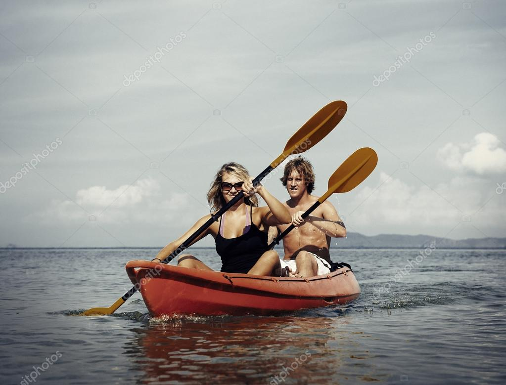 Couple Kayaking in the sea
