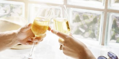 Couple and Sparkling Wine  Concept