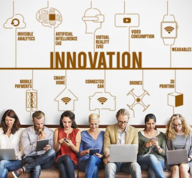 people sit with devices and Innovation
