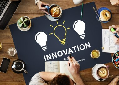 Table with poster with Innovation