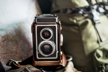 vintage camera and backpack