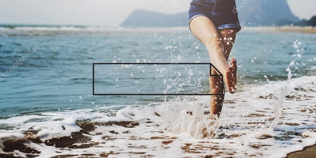 woman legs in denim blue shorts