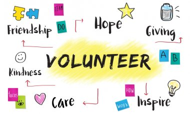 creative banner with text Volunteer