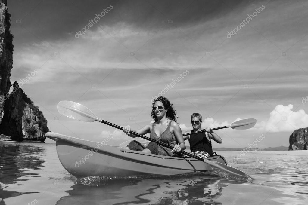 Cople Kayaking in the sea