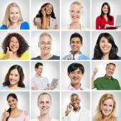 Skupina pozitivních lidí portrétů
