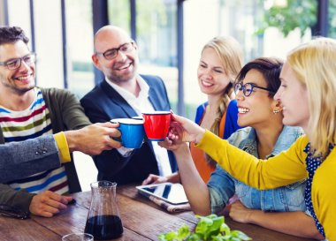 People celebrating new start-up business