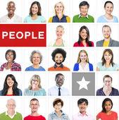 Portrét mnohonárodnostní různorodých lidí