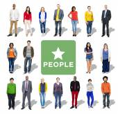Multi-etnické skupiny lidí v řadě