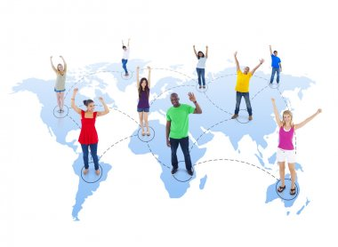Connected Multi-Ethnic People with Arms Raised Standing on World