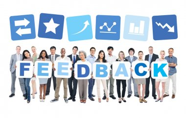 People holding word feedback