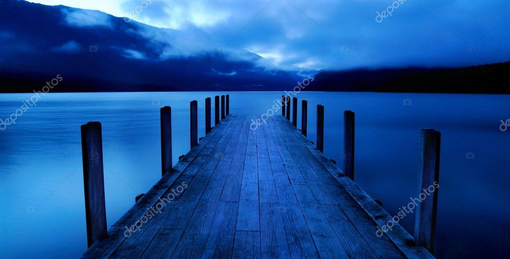 Tranquil lake with jetty
