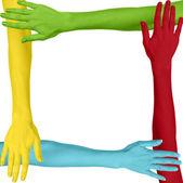 Fotografie barevné ruce jako čtverec