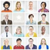 Portrét mnohonárodnostní barevné veselé lidi