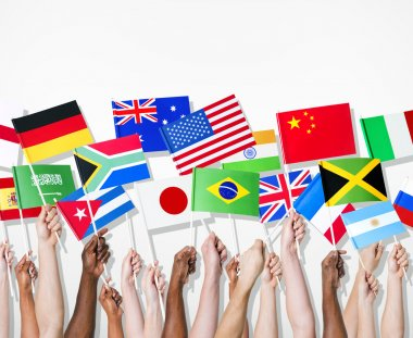 People holding flags of their country
