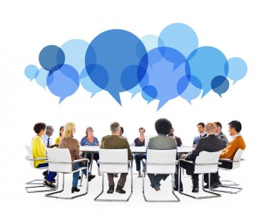 People in Meeting With Speech Bubbles