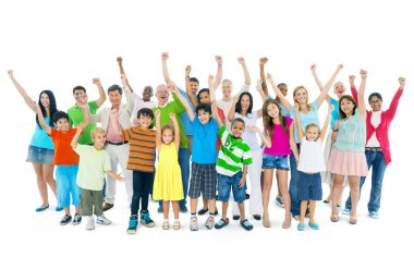 Group of mixed age people cheering