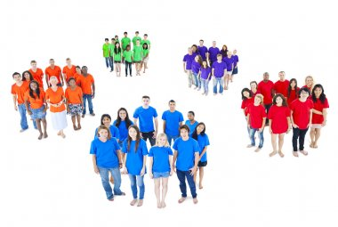 Groups of people in different colors