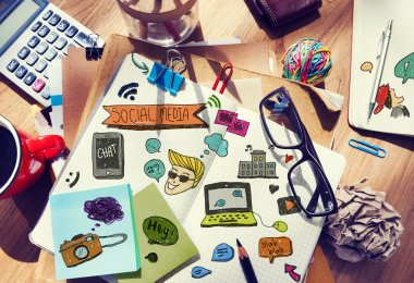 Designer's Table with Social Media Notes