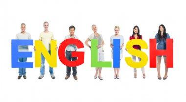 People holding word 'English'