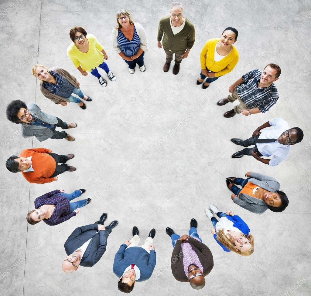 Multiethnic People Forming Circle