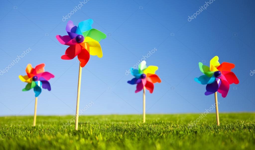 Pinwheels on grass