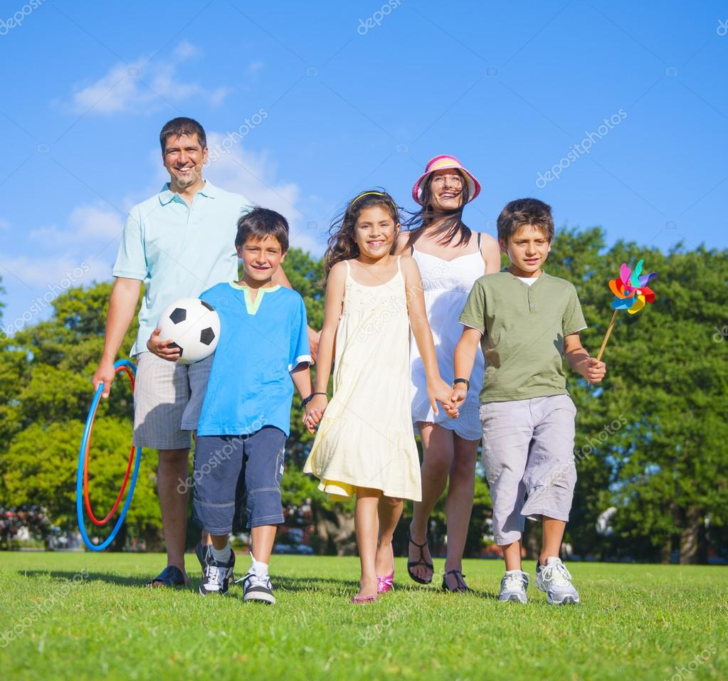 Family walk in park