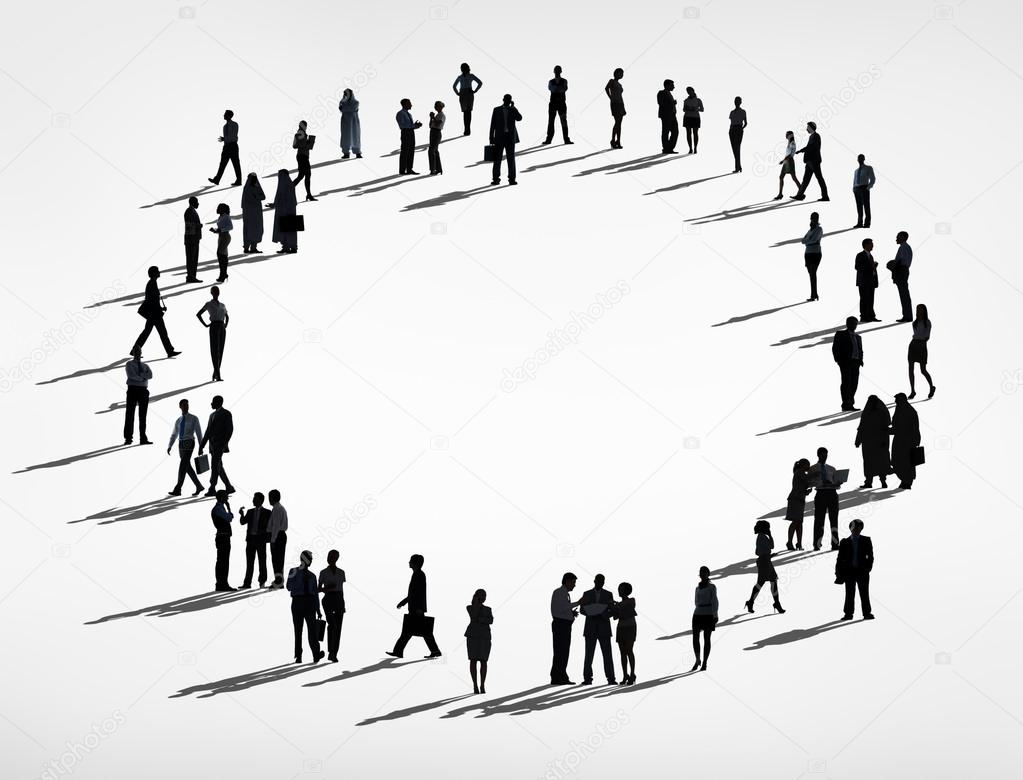 Business people in circle stock image