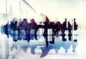 Business Peoples Silhouettes in Meeting