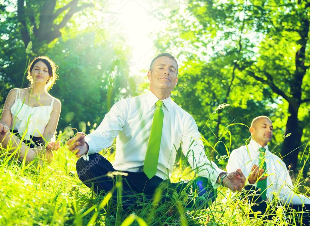 Green business team meditation