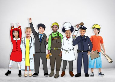 Multiethnic Children with Different Jobs