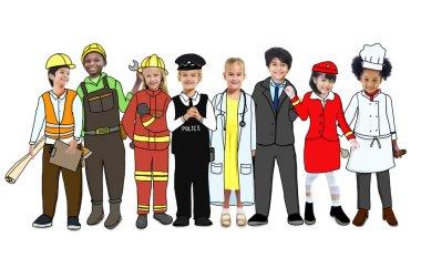 Children Wearing Future Job Uniforms