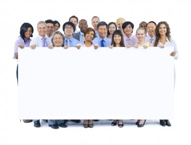 Business People Holding Board