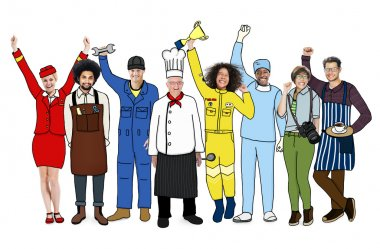 Multiethnic People with Different Jobs