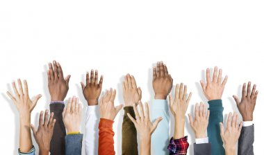 Diverse Hands Raised