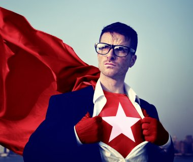 Superhero Businessman with Star on outfit